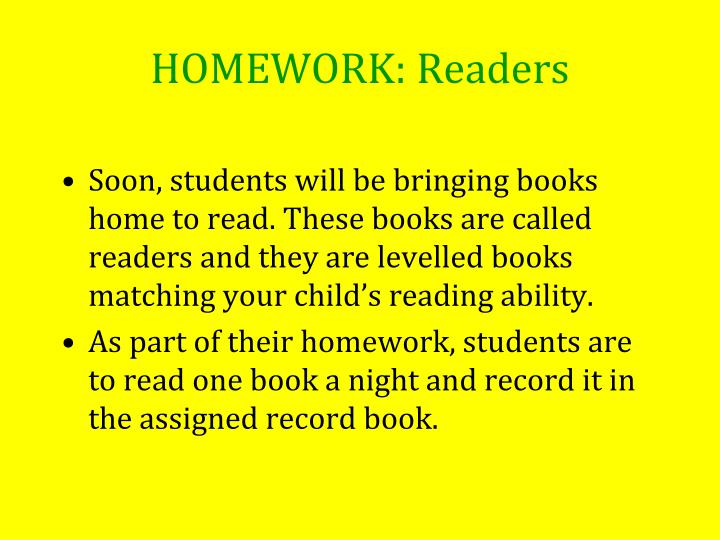 HOMEWORK: Readers