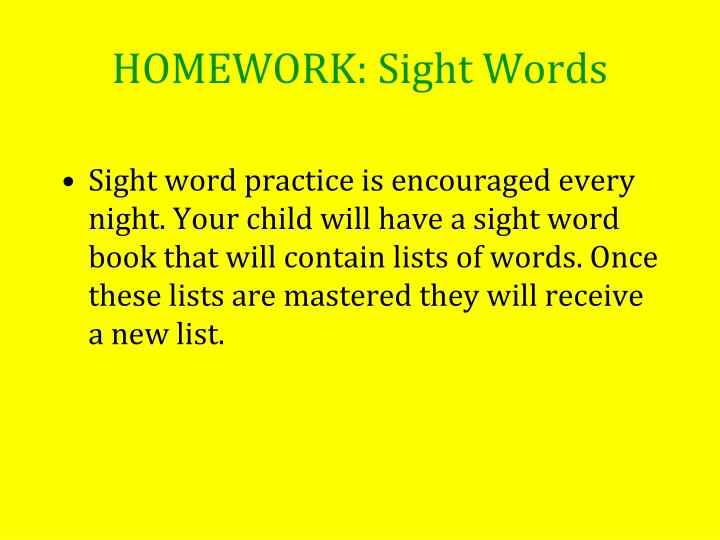 HOMEWORK: Sight Words