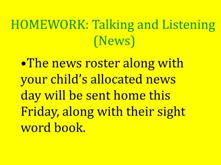 HOMEWORK: Talking and Listening
