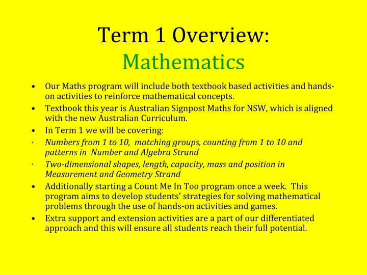 Term 1 Overview: