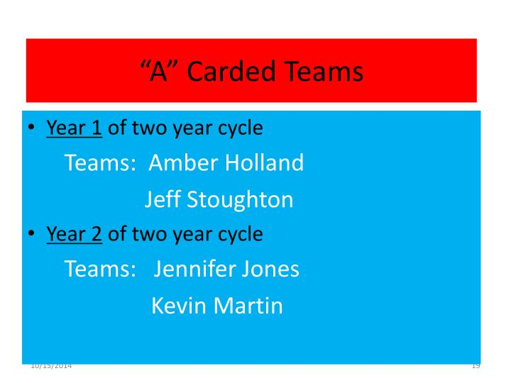 """A"" Carded Teams"