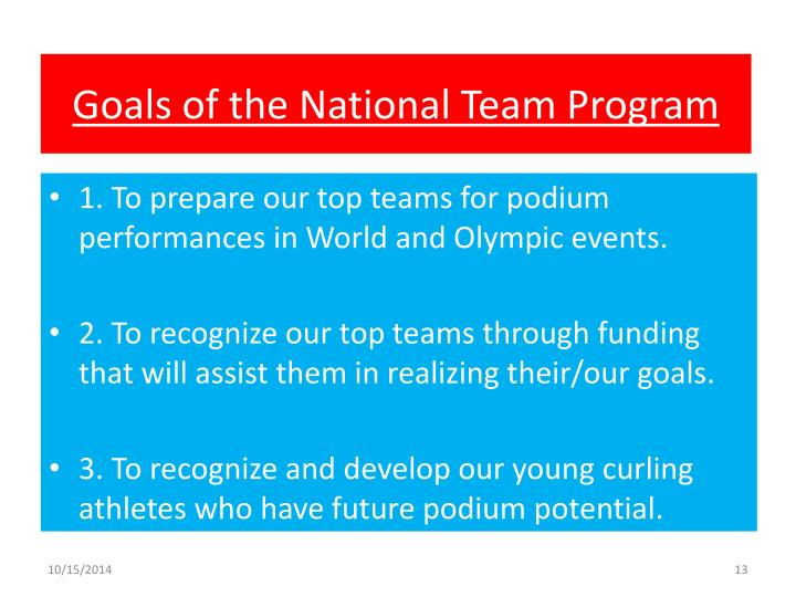 Goals of the National Team Program