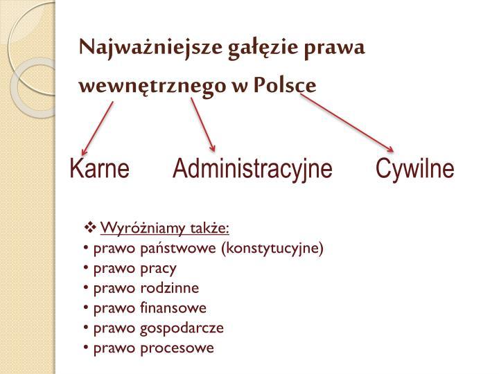 Najważniejsze gałęzie prawa wewnętrznego w Polsce