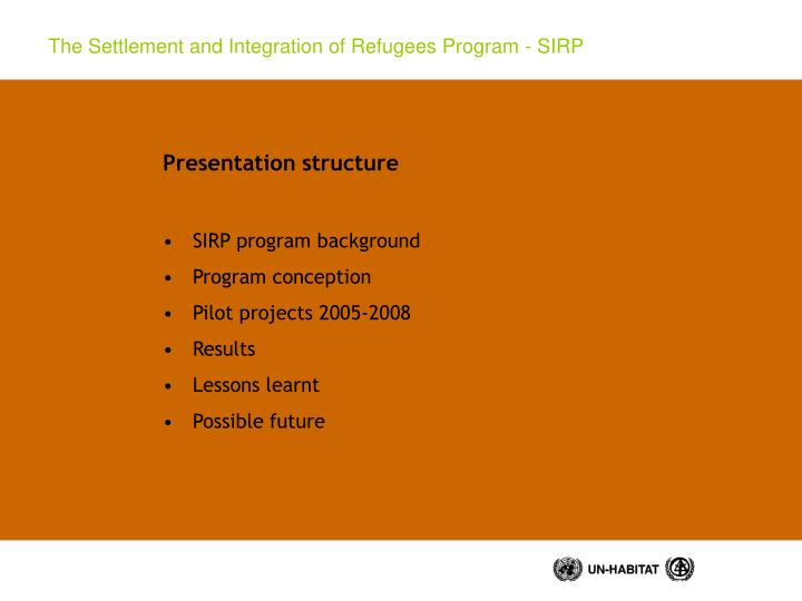 The settlement and integration of refugees program sirp