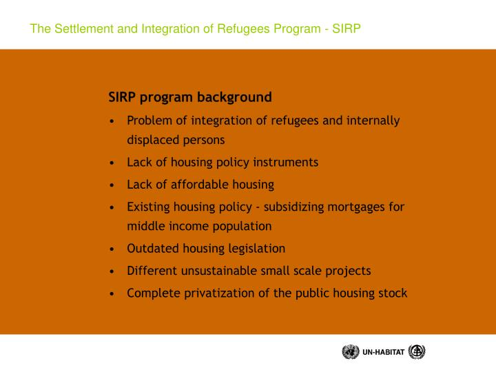 The settlement and integration of refugees program sirp1