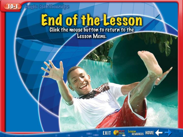 End of the Lesson