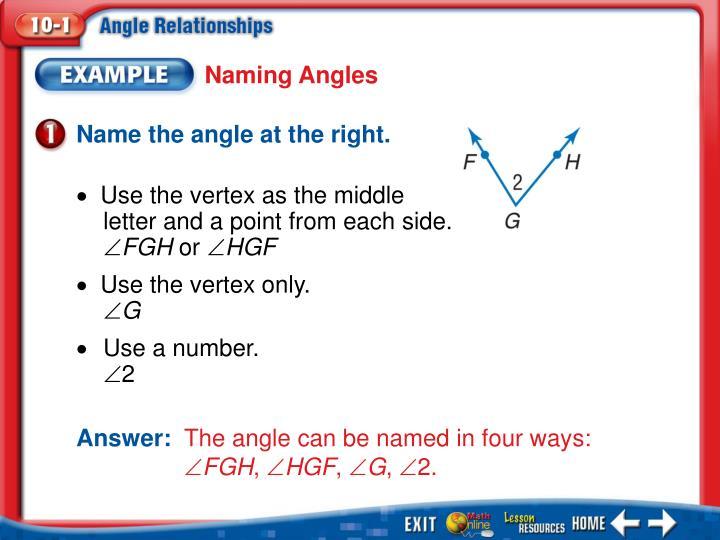 Naming Angles