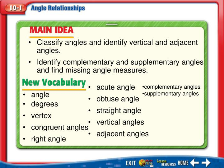 Classify angles and identify vertical and adjacent angles.