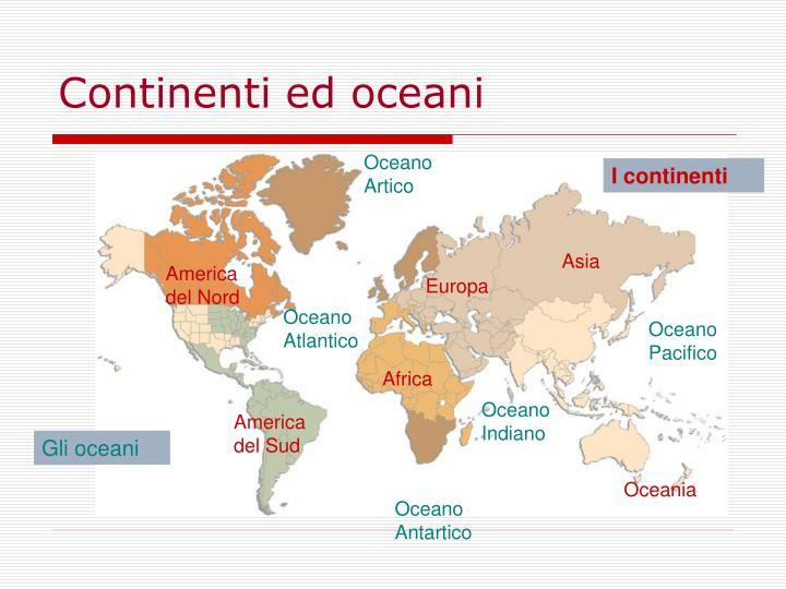 Continenti ed oceani