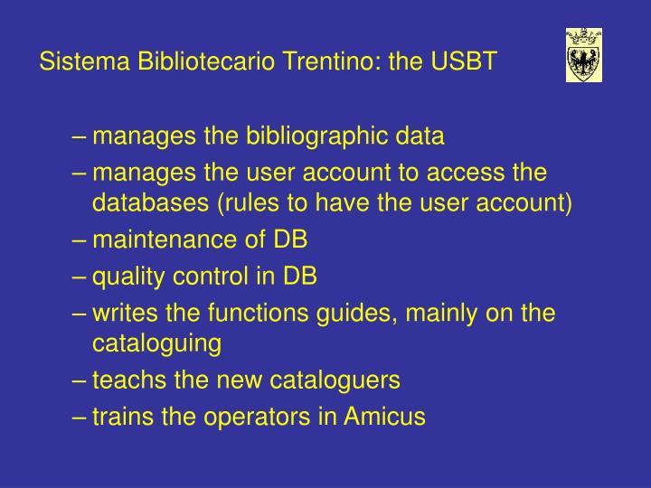 Sistema Bibliotecario Trentino: the USBT
