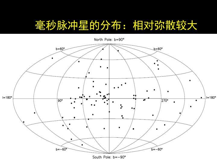 毫秒脉冲星的分布:相对弥散较大