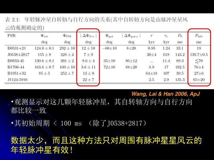 Wang, Lai & Han 2006, ApJ
