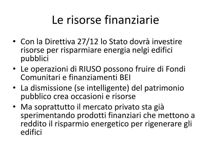 Le risorse finanziarie