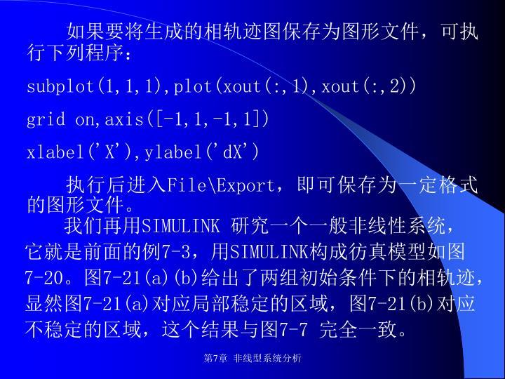 如果要将生成的相轨迹图保存为图形文件,可执行下列程序: