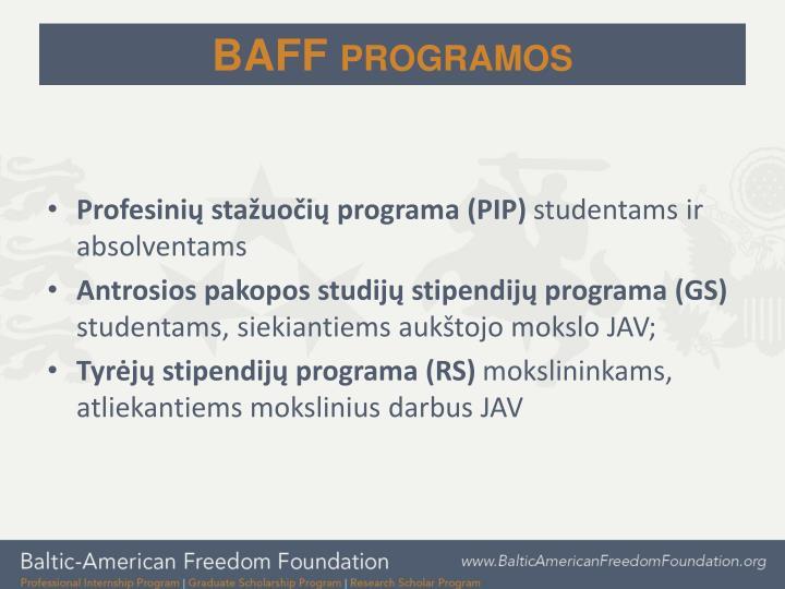 BAFF programos