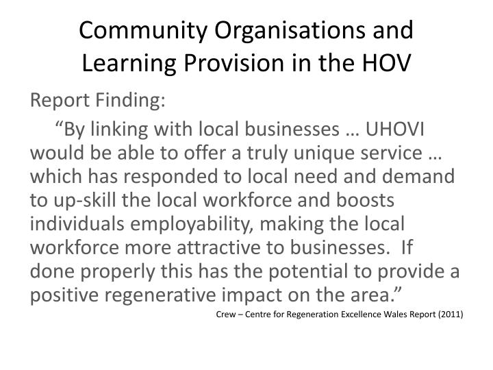 Community Organisations and Learning Provision in the HOV