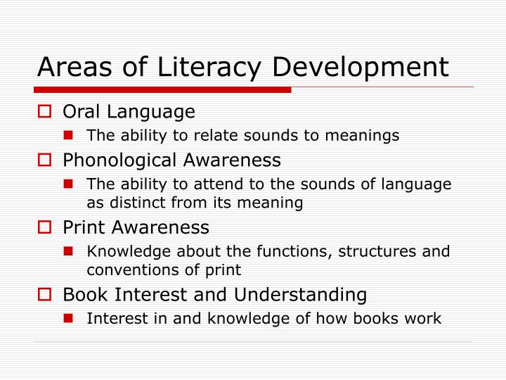 Areas of Literacy Development