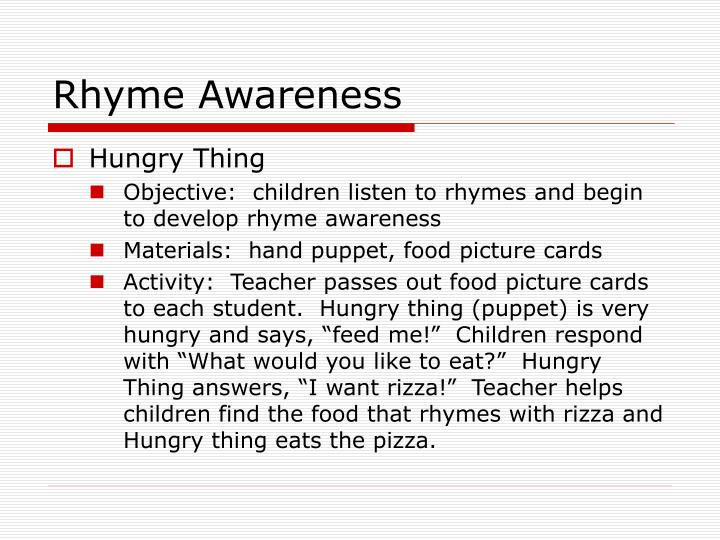 Rhyme Awareness