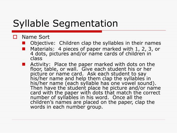 Syllable Segmentation