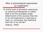 why is phonological awareness so important
