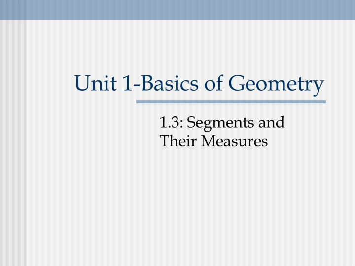 Unit 1-Basics of Geometry