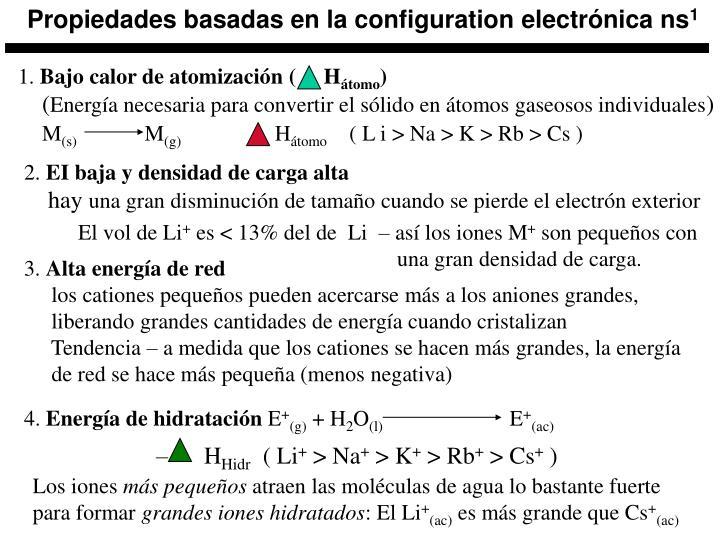 Propiedades basadas en la configuration electrónica ns