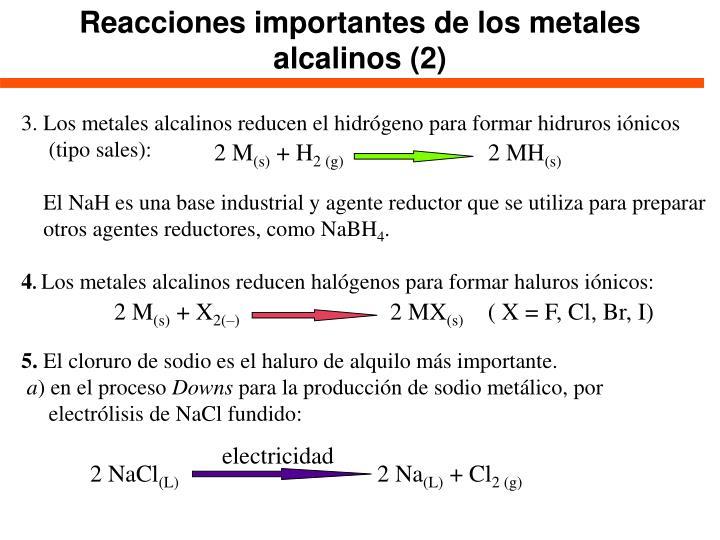 Reacciones importantes de los metales alcalinos (2)