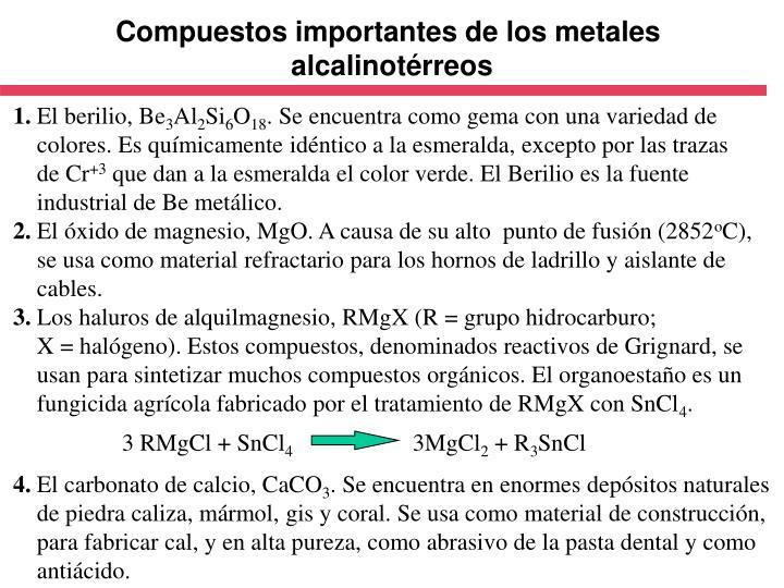 Compuestos importantes de los metales