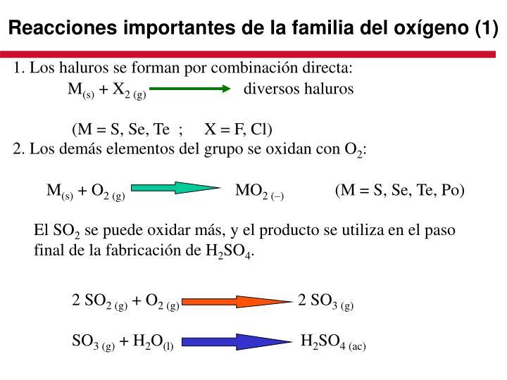 Reacciones importantes de la familia del oxígeno (1)