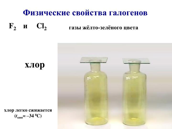 Физические свойства галогенов
