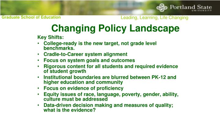 Changing Policy Landscape