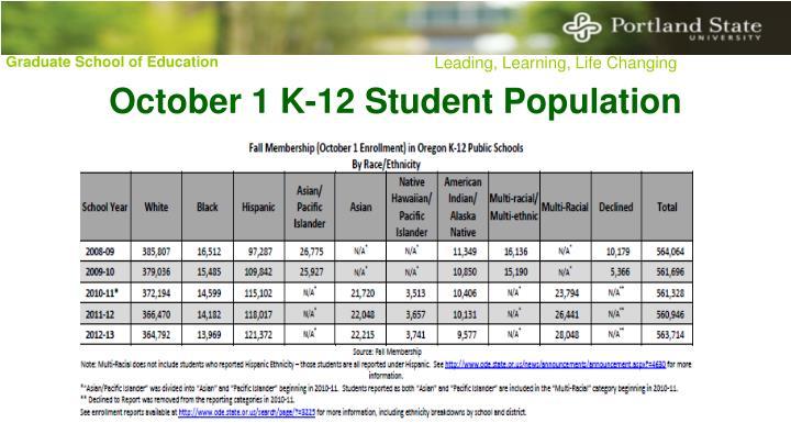 October 1 K-12 Student Population