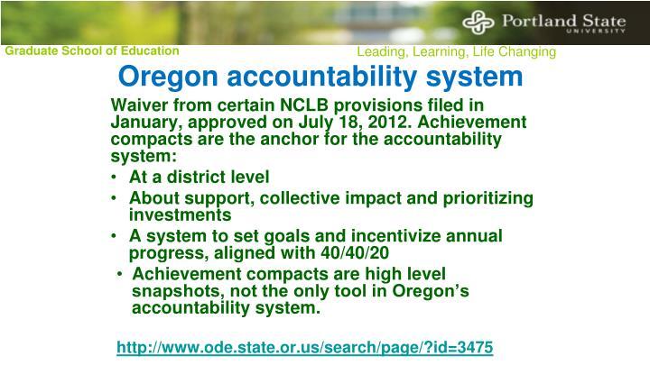 Oregon accountability system
