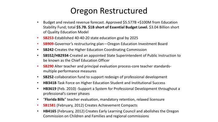 Oregon Restructured