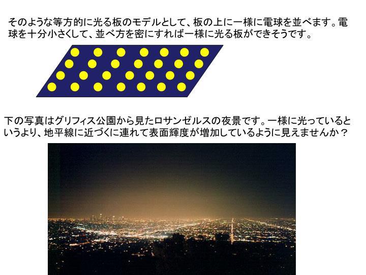 そのような等方的に光る板のモデルとして、板の上に一様に電球を並べます。電球を十分小さくして、並べ方を密にすれば一様に光る板ができそうです。