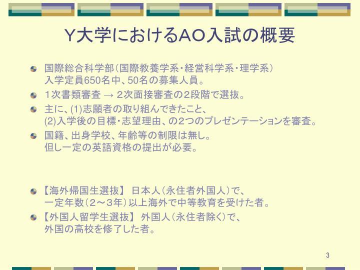 Y大学におけるAO入試の概要