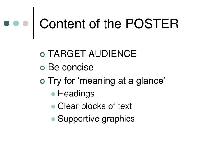 Content of the POSTER