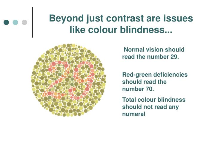 Beyond just contrast are issues like colour blindness...