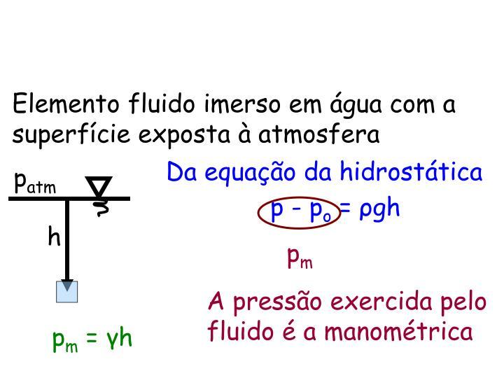 Elemento fluido imerso em água com a superfície exposta à atmosfera
