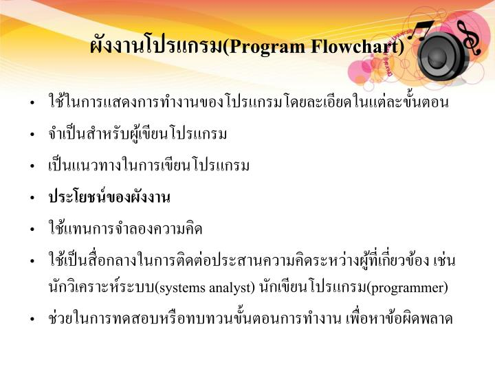 ผังงานโปรแกรม(Program Flowchart)