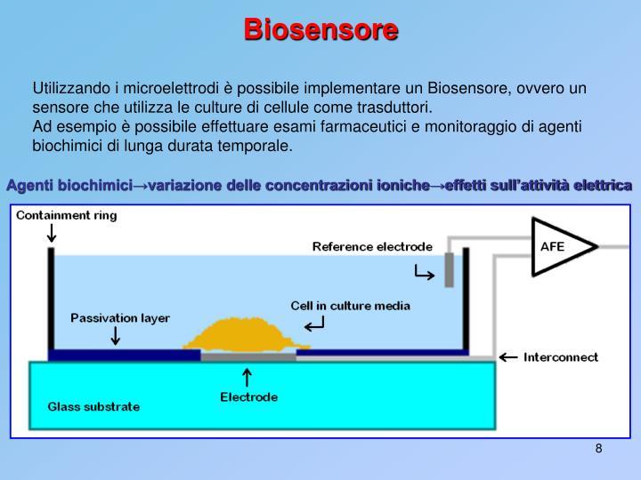 Utilizzando i microelettrodi è possibile implementare un Biosensore, ovvero un sensore che utilizza le culture di cellule come trasduttori.
