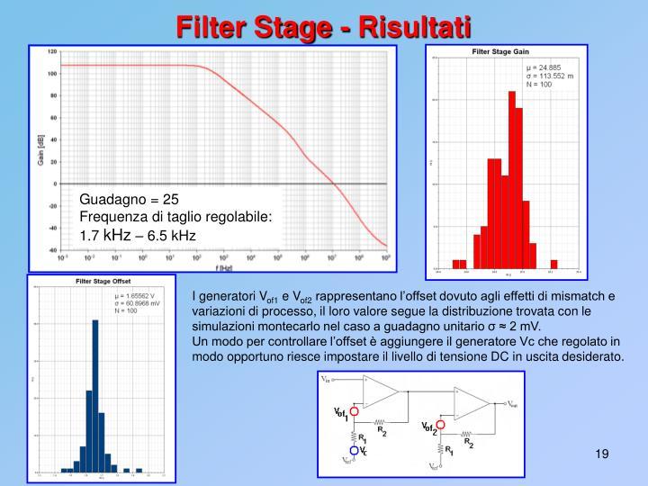 Filter Stage - Risultati