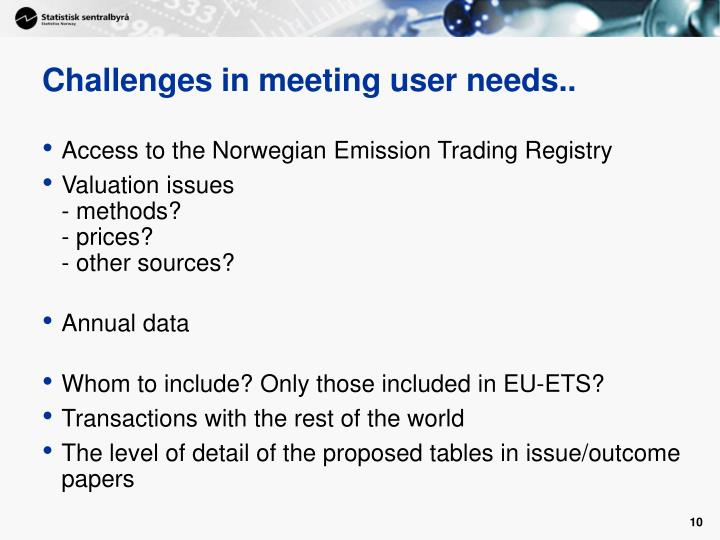 Challenges in meeting user needs..