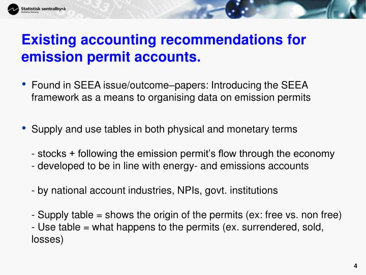 Existing accounting recommendations for emission permit accounts.