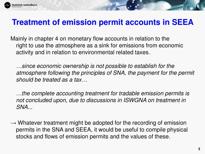 Treatment of emission permit accounts in seea