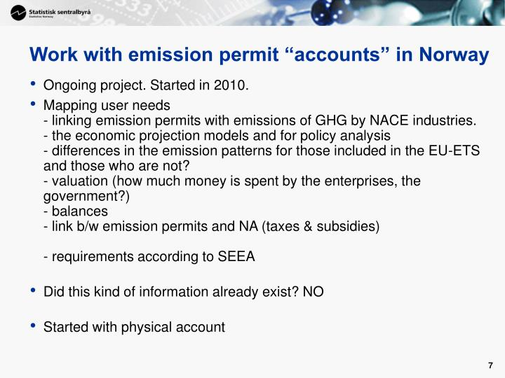 "Work with emission permit ""accounts"" in Norway"