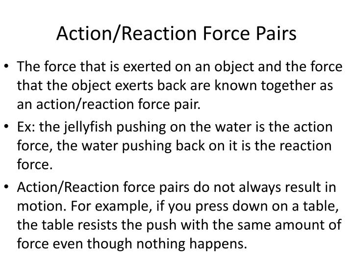 Action/Reaction Force Pairs