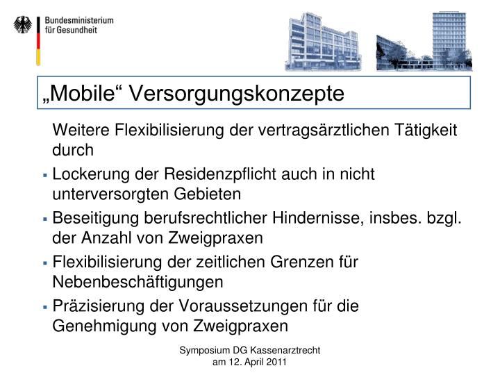 """""""Mobile"""" Versorgungskonzepte"""