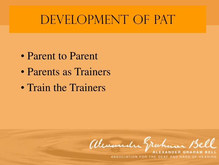 Parent to parent parents as trainers train the trainers