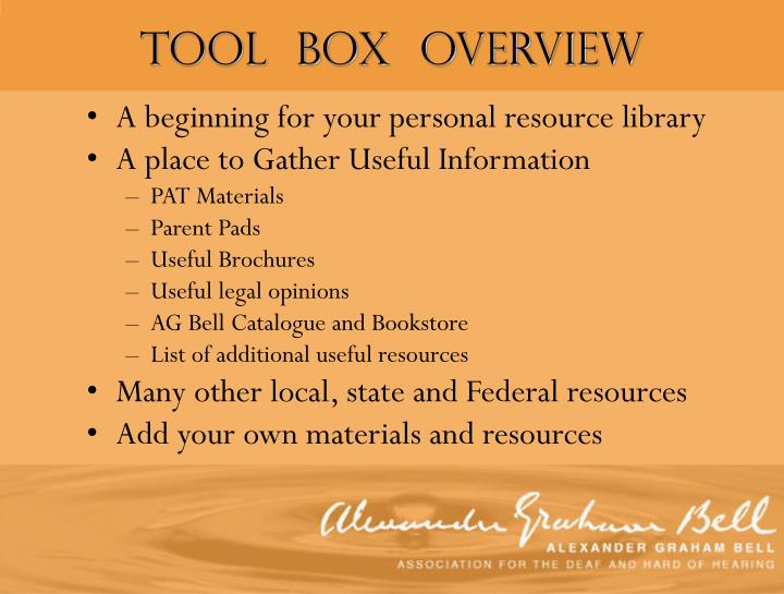 Tool  Box  Overview